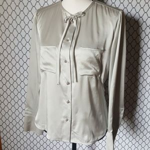 TALBOTS Silk Neck Tie Button Up Blouse Size 8
